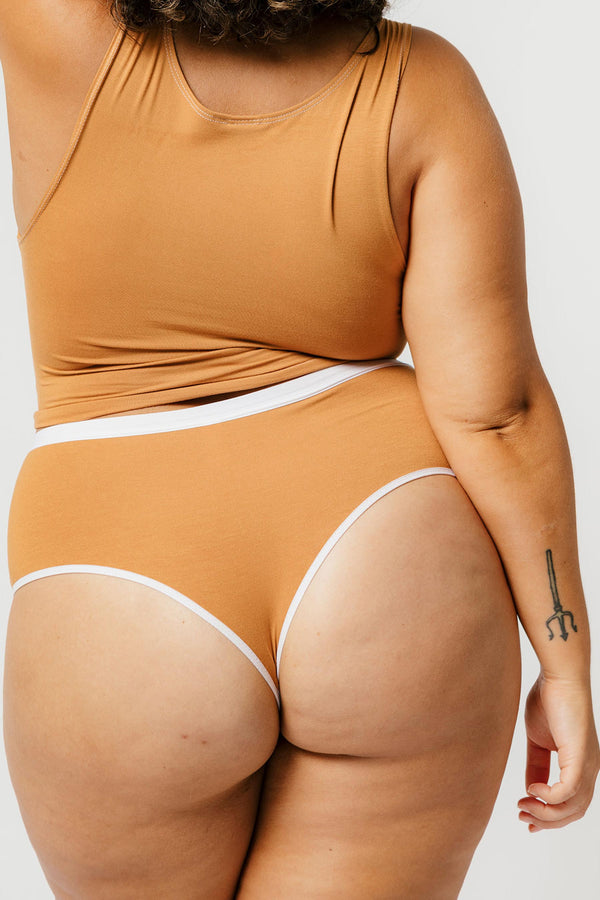 High Waist Thong in Caramel