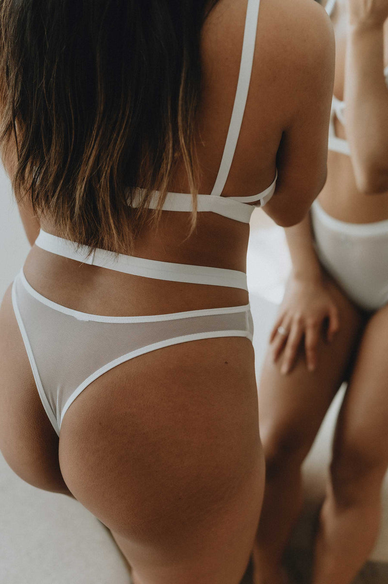Jariah Cutout Thong in White