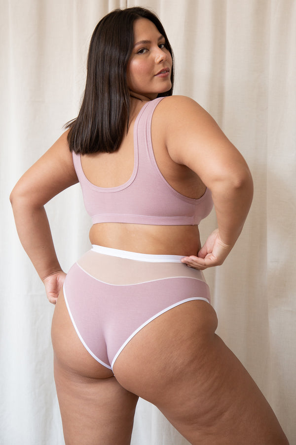 Logan High Cut Bikini in Dusty Rose