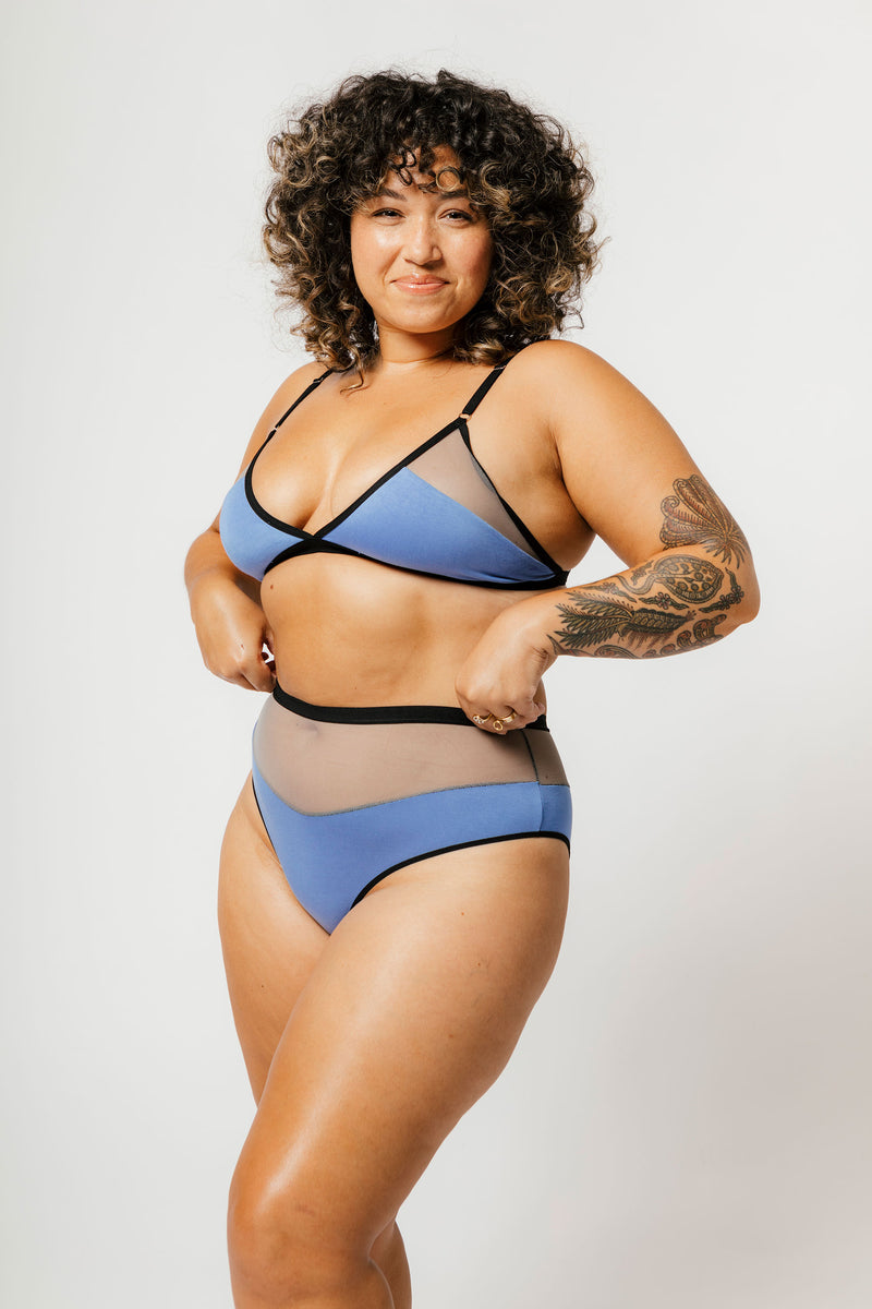 Logan High Cut Bikini in Cornflower