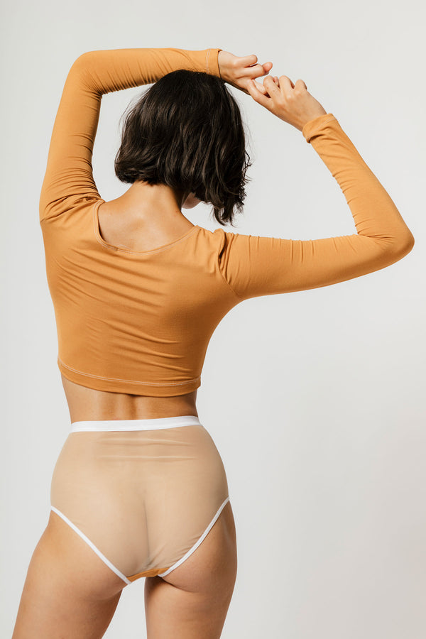 Lux High Waist Brief in Caramel