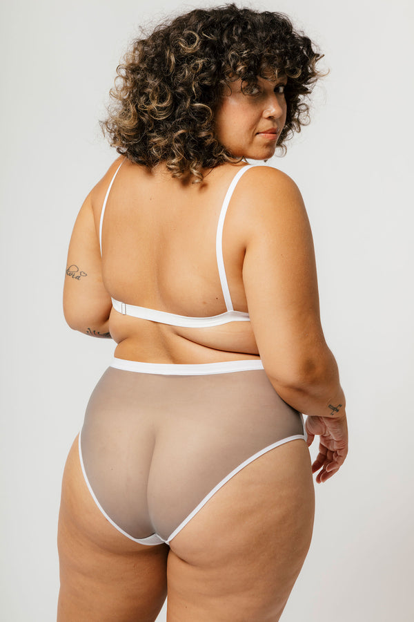 Lux High Waist Brief in Concrete