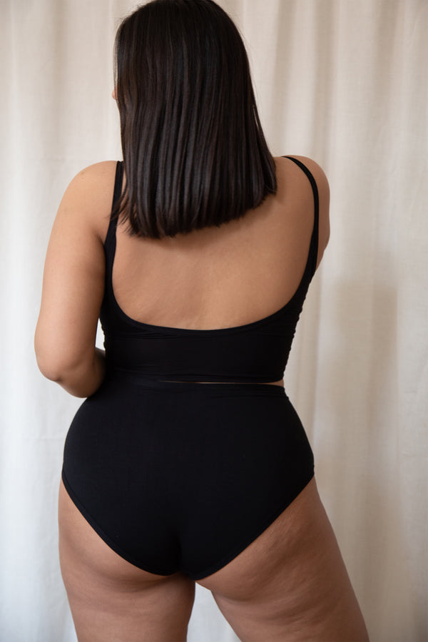 backside of high waist underwear in black