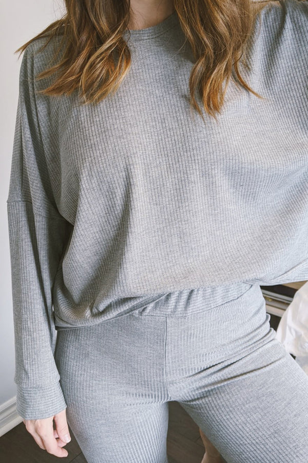 Owen Sweater in Grey Rib