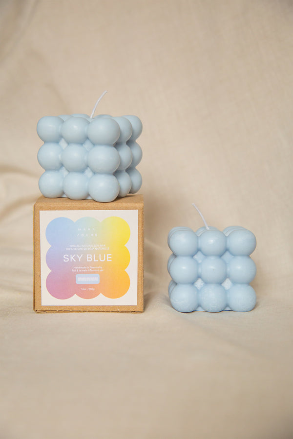 Bubble Candle in Sky Blue