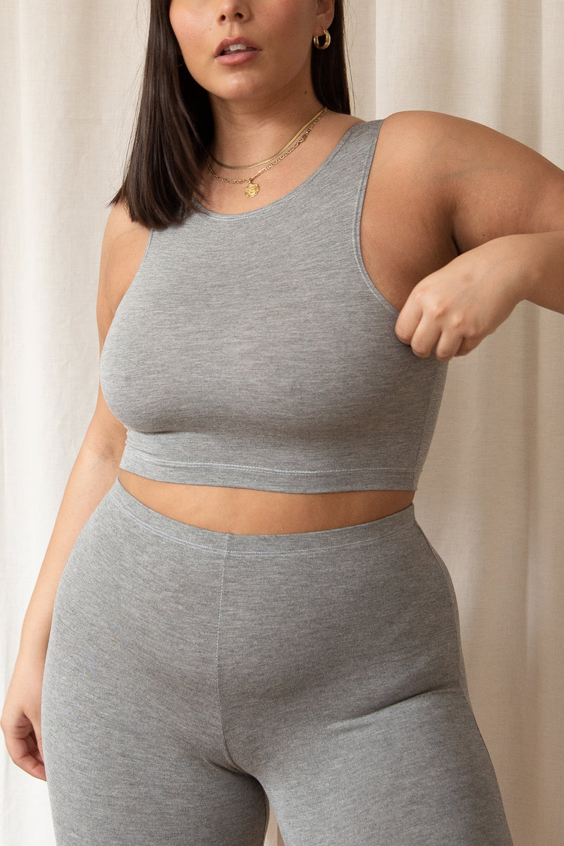 maya in large grey bamboo crop tank top
