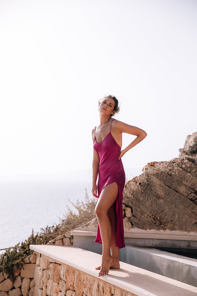 The Slinky Slip Dress - Fuchsia