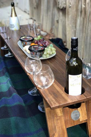 Hardwood Folding Wine Table - 8 Glasses & 2 Bottle Holder