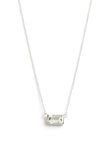 Baguette Necklace White Topaz - Silver