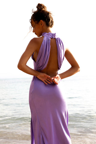 The High Neck Draped Back Slinky - Lilac