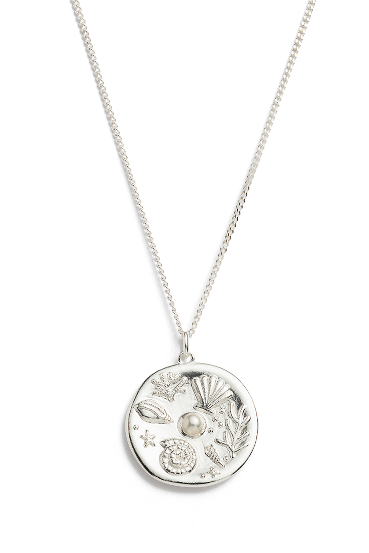 By The Sea Coin Necklace - Silver
