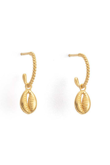 Cowrie Shell Hoops - Gold