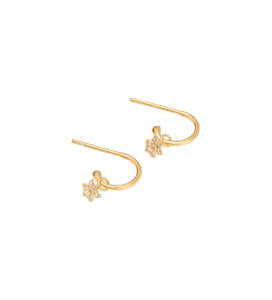 Crystal Flower Hoops - Gold