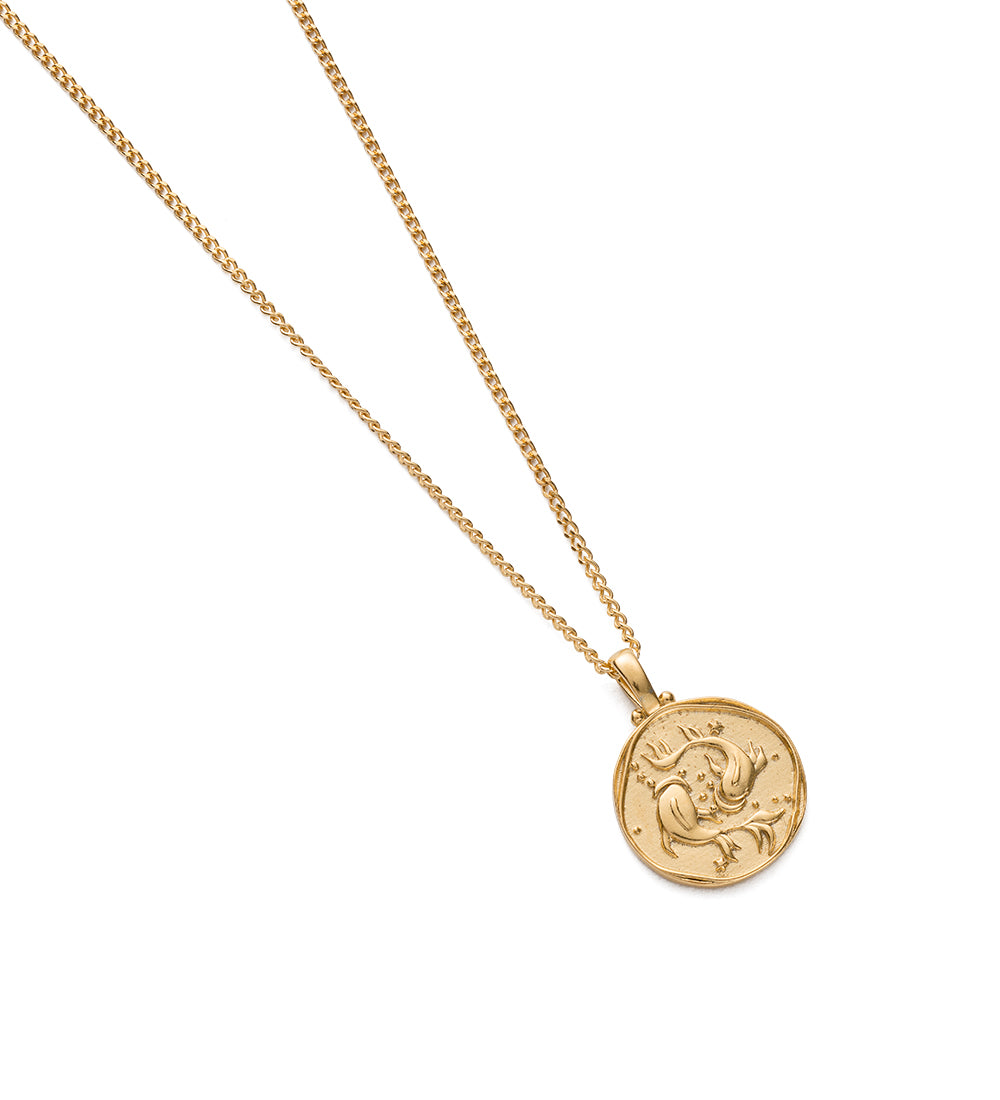 Pisces Zodiac Necklace - Gold