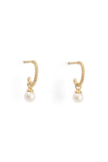 Tiny Pearl Hoops - Gold