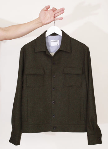 The lined cropped jacket - Green