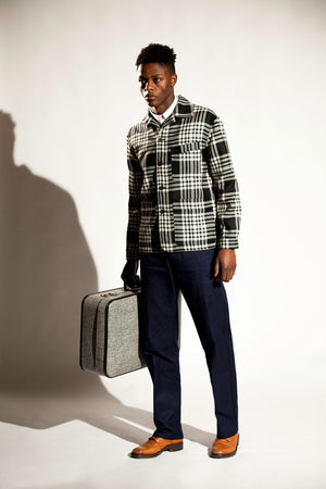 The wool work-jacket - Big Black and White check