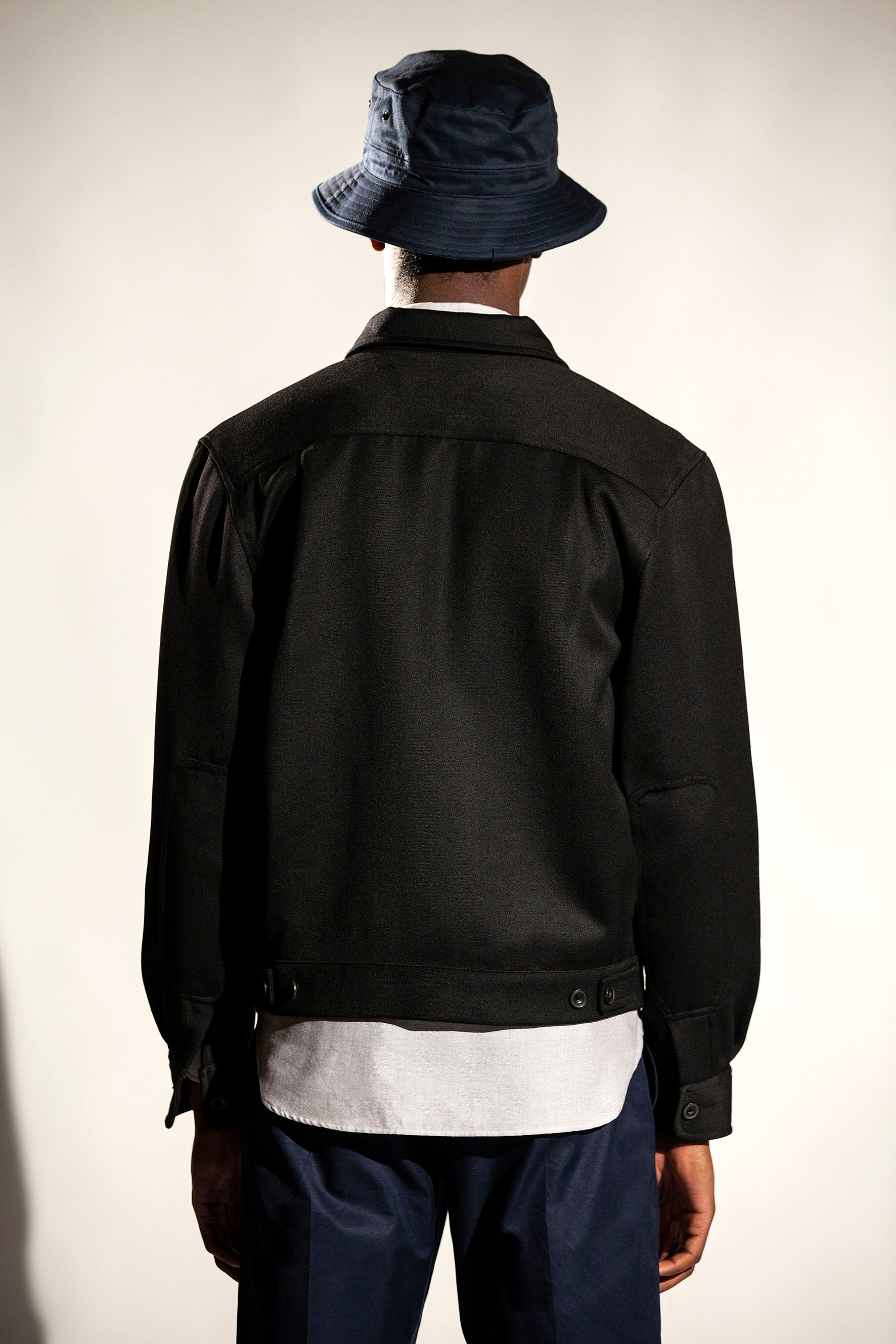 Lined Cropped Jacket - Black Twill