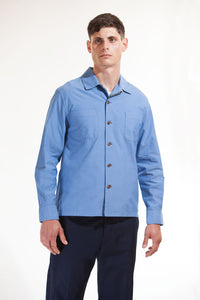 The cotton over-shirt - Mid blue