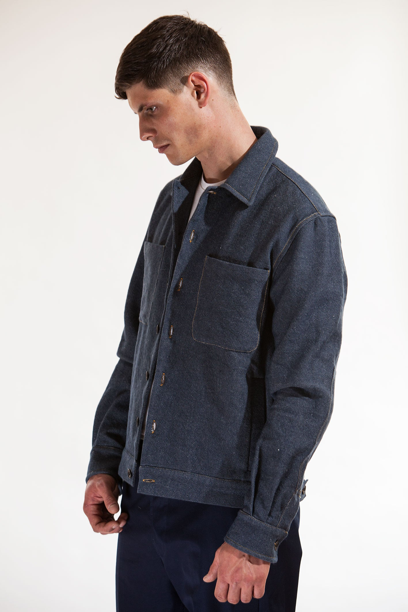The lightweight cropped jacket - Denim fat twill
