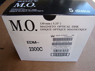 Sony EDM-2300C 5 Pack Box 2.3GB RW Optical Disk 512 B/S NEW Factory Sealed