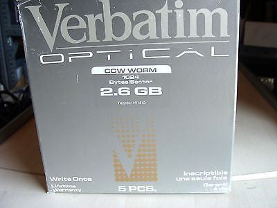 "*New* Verbatim 2.6GB 5.25"" MO CCW WORM 1024 Bytes/Sector 91412*Pack of 5*"