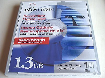 *NEW* Imation  Rewritable Magneto Optical 5.25'' 1.3GB MAC Fmt 1024b/s
