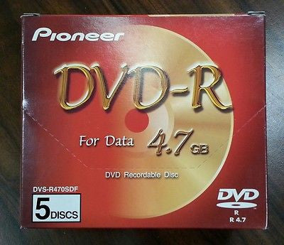 *New* 5 Pack PIONEER DVS-R470SDF DVD-R Discs 4.7GB  Box of 5