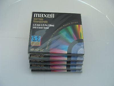 *NEW* Lot of 5 Maxell MA192-S2 5.2GB RW Optical Disk Media  - same as EDM-52000C