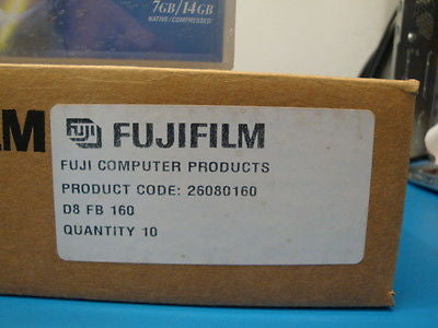 Box of 10 NEW Sealed FUJIFILM 8mm Data Tapes 7/14GB/30GB 26080160 307265