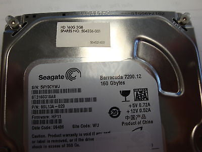 "HP 504336-001 160GB SATA Hard Drive ST3160318AS 7200 RPM 8mb cache 3.5"" - Micro Technologies (yourdrives.com)"