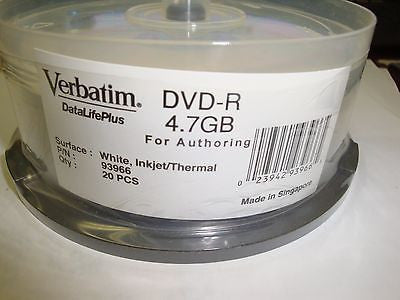 Verbatim 93966 DataLifePlus 4.7GB DVD-R Authoring Ink New 20 Pack - Micro Technologies (yourdrives.com)