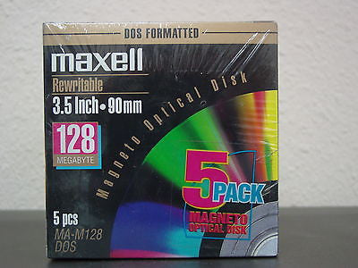 5-Pack Maxell 128mb MO Media MA-M128 Factory Sealed 90mm