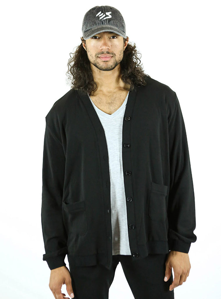Varsity Cardigan | Solid Black