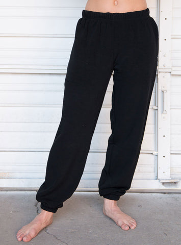 Unisex Black Fleece Sweatpants with Zipper Pocket