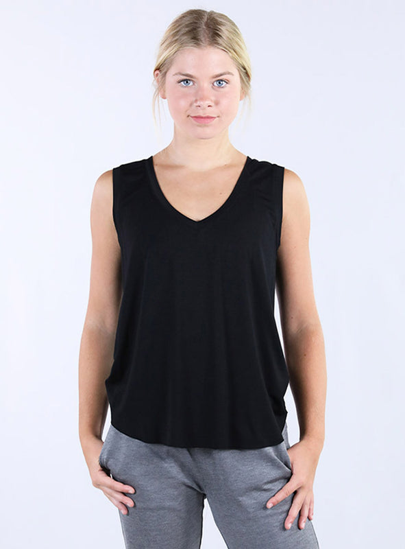 Flowy V-Neck Tank | Black