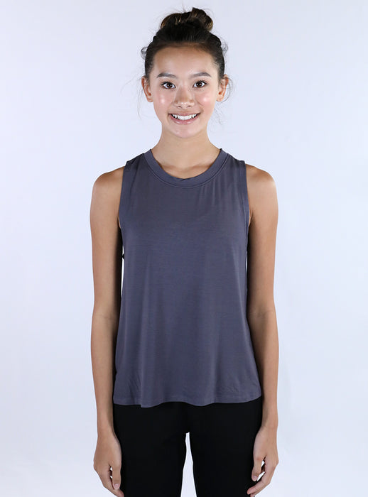 Flowy Crewneck Tank | Dark Grey