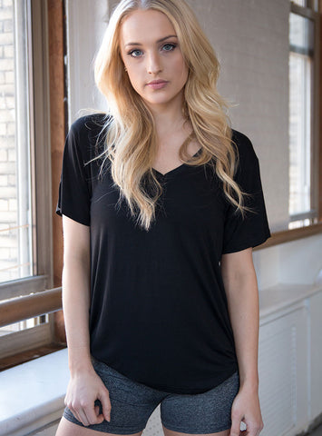 Black Flock Tee Viscose V-neck