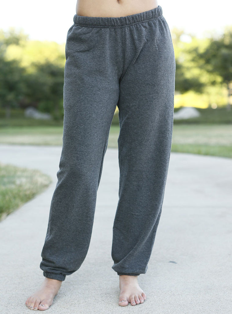 Unisex/Men Grey Fleece Sweatpants