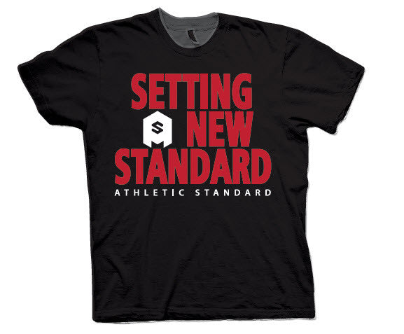 "Athletic Standard's  ""SETTING A NEW STANDARD"" T-Shirt (Black & Red/White)"