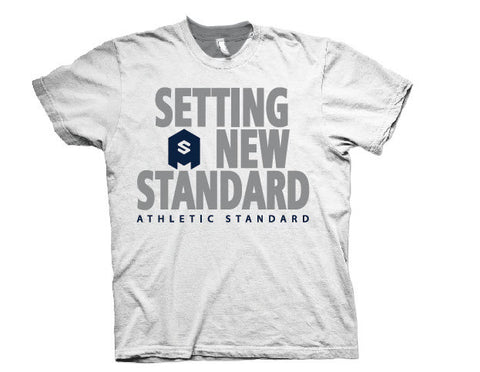 "Athletic Standard's  ""SETTING A NEW STANDARD"" T-Shirt (White & Blue/Silver)"