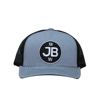 JB Round Logo on Silver and Black Mesh