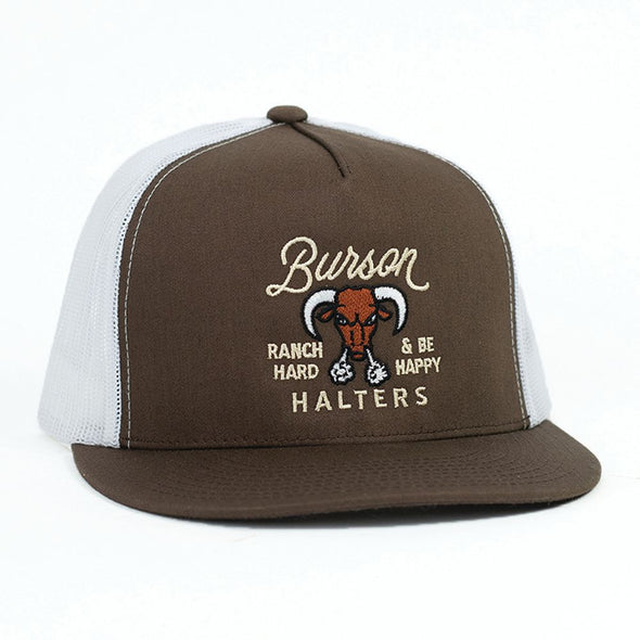 Burson Halters Brown & White Mesh Flatbill