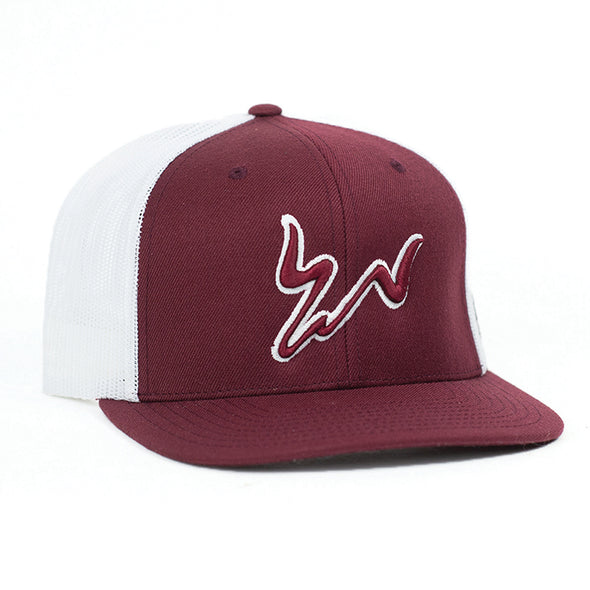 Cody Webster Maroon & White Meshback Flatbill