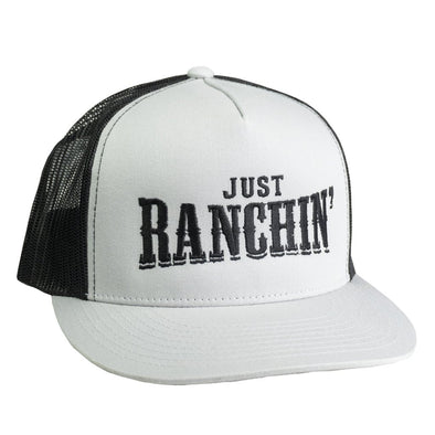 Just Ranchin Grey & Black Mesh Flatbill