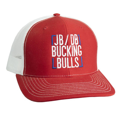 JB/DB Bucking Bulls Square Red and White Mesh Precurved