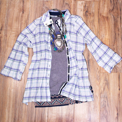 Blue & White Plaid Embroidered Button Up