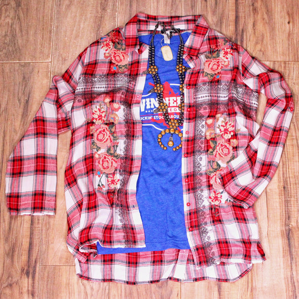 Red Plaid Embroidered Button Up