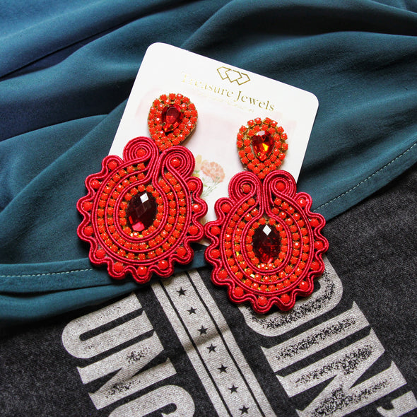 Red Jewel Earrings