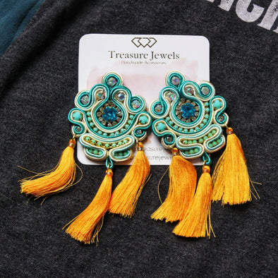 Turquoise & Orange Tassel Jewel Earrings